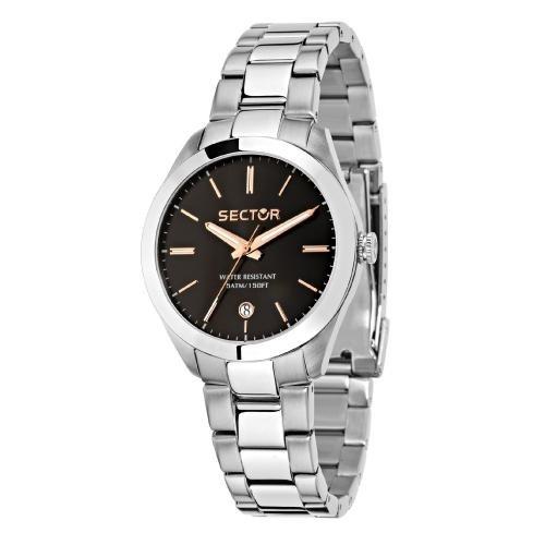 Sector 120 36mm 3h black dial bracelet ss donna R3253588507