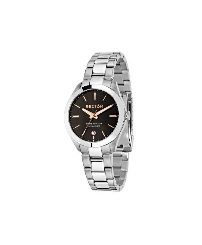 Sector 120 36mm 3h black dial bracelet ss donna R3253588507 - galleria 1