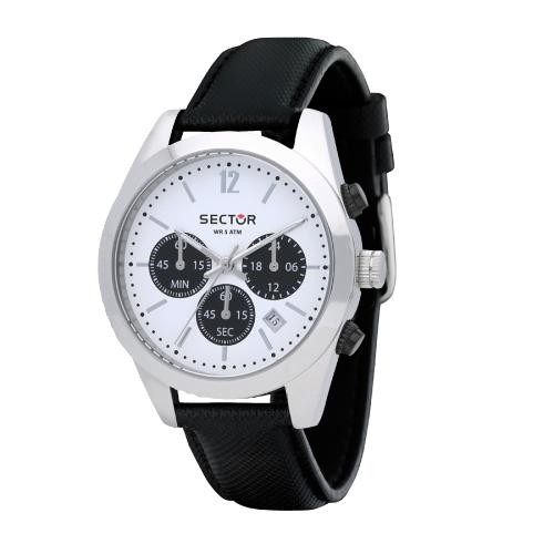 Sector 245 41mm chr white dial black strap