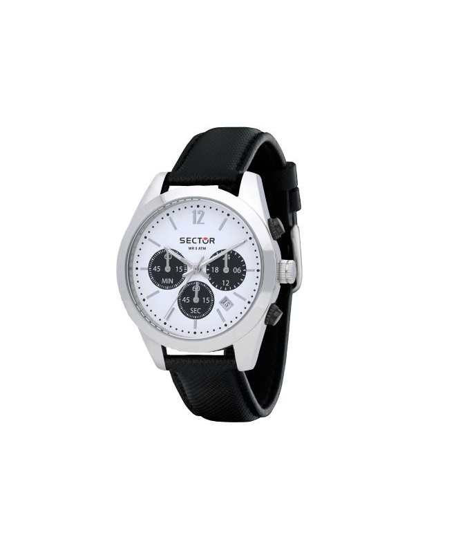 Sector 245 41mm chr white dial black strap - galleria 1