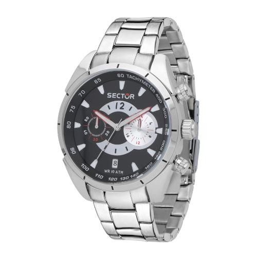 Sector 330 45mm chr black dial br ss