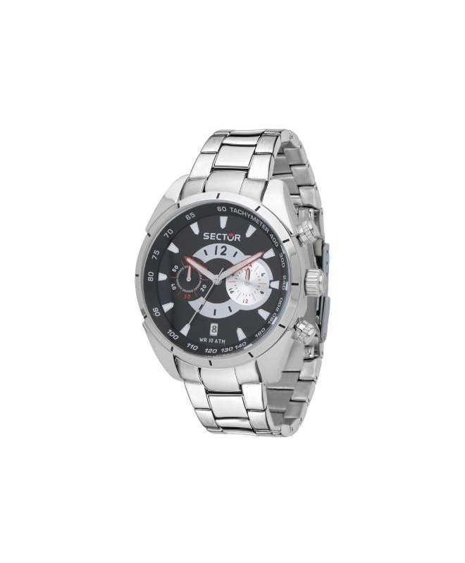 Sector 330 45mm chr black dial br ss - galleria 1