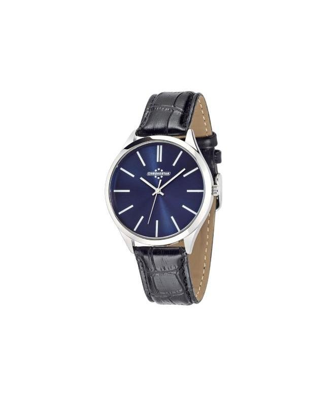 Chronostar Marshall 42mm 3h blue dial black strap - galleria 1