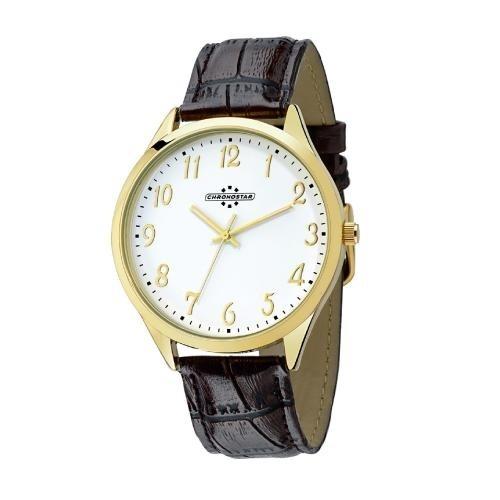 Chronostar Marshall 3h 42mm white dial brown str yg
