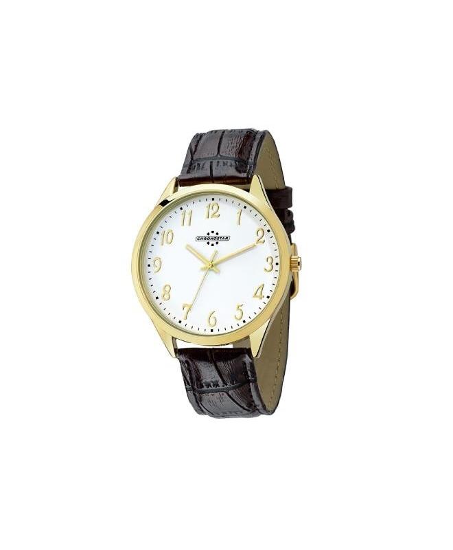 Chronostar Marshall 3h 42mm white dial brown str yg - galleria 1