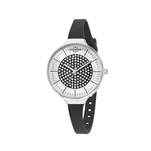 Chronostar Toffee lady 3h 30mm s/blk dial blk sil