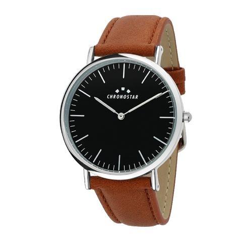 Chronostar Preppy gent 40mm 2h black dial brown st