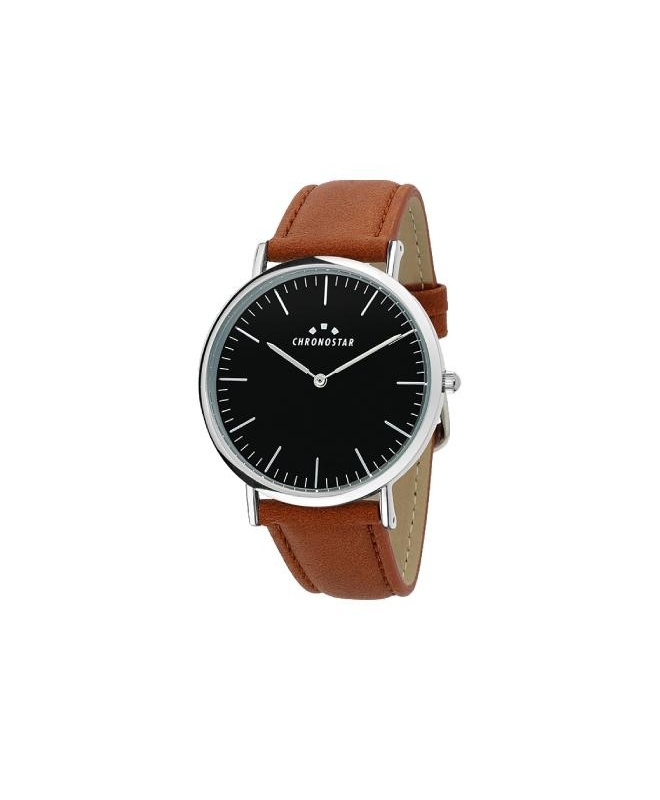 Chronostar Preppy gent 40mm 2h black dial brown st - galleria 1