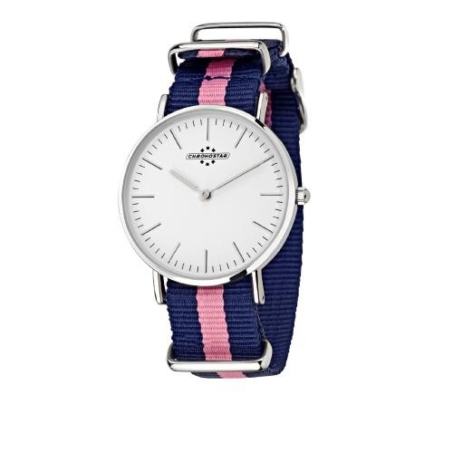 Chronostar Preppy lady 36mm 2h white dial blu+pik s