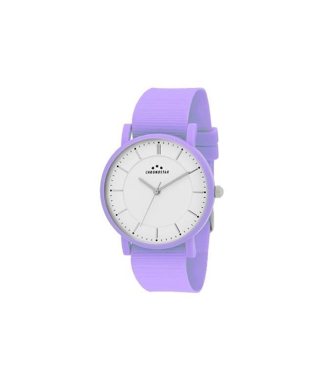 Chronostar Sorbetto 36mm 3h white dial purple sili - galleria 1