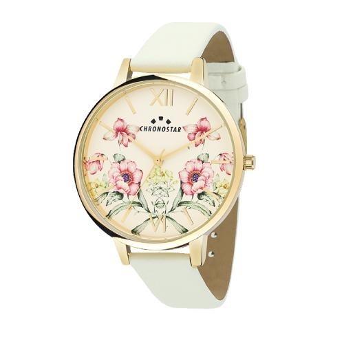 Chronostar Glamour 38mm 3h yg dial white strap