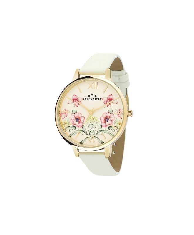 Chronostar Glamour 38mm 3h yg dial white strap - galleria 1