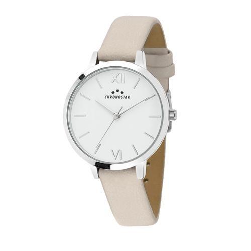 Chronostar Glamour 30mm 3h white dial beige strap