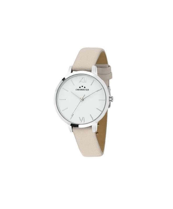 Chronostar Glamour 30mm 3h white dial beige strap - galleria 1