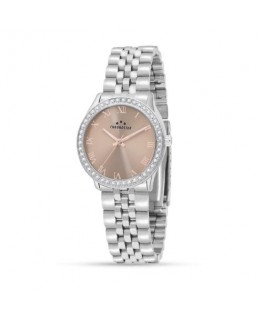 Chronostar Luxury 3h 34mm pink dial br ss