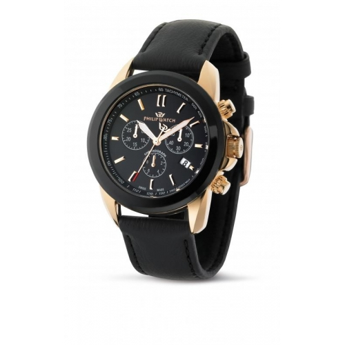 Philip Watch Cruiser chr black dial/strap uomo R8271694025