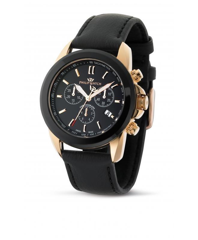 Philip Watch Cruiser chr black dial/strap uomo R8271694025 - galleria 1
