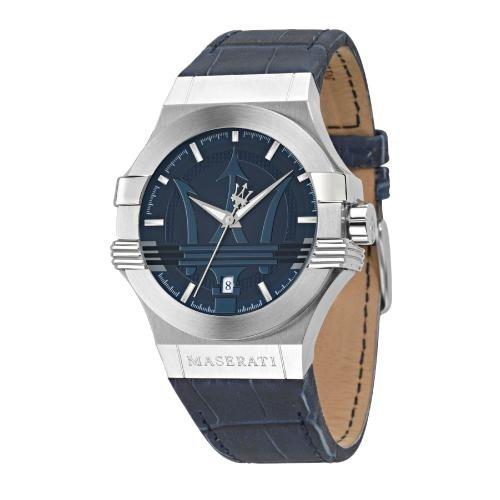 Maserati Potenza 42mm 3h blue dial blue strap uomo R8851108015