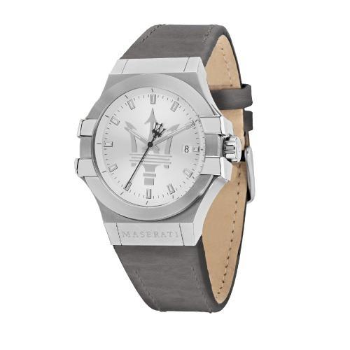 Maserati Potenza 42mm 3h silver dial grey strap uomo R8851108018