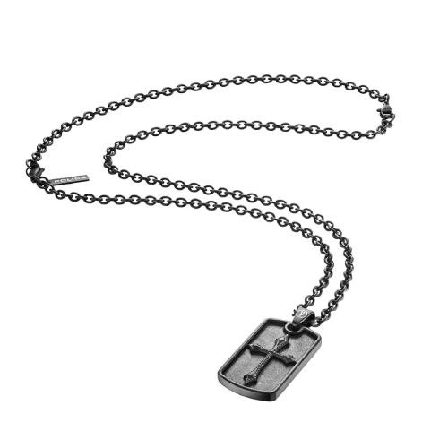 Police Knights cross pend.black cross blk chain
