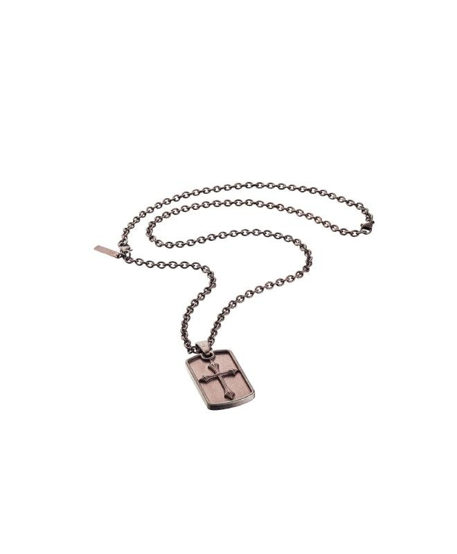 Police Knights cross pend.brown cross bwn chain - galleria 1