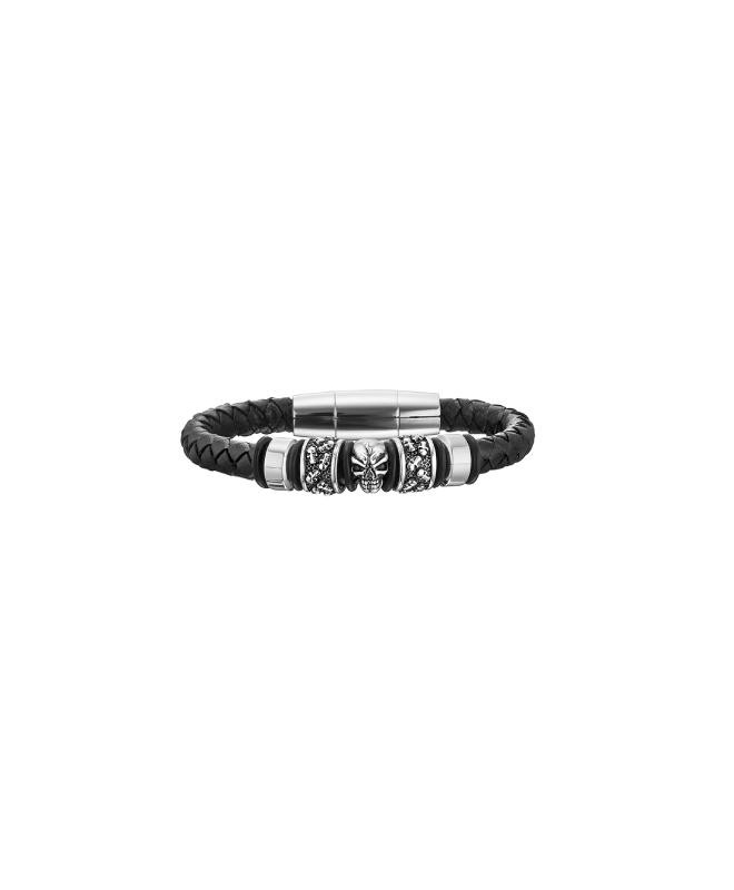 Police Soul br.ss rect.magnetic buckle black st - galleria 1