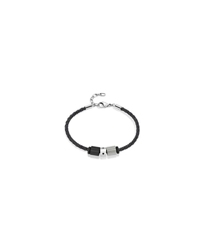 Sector Gioielli Ace br. 3 beads leather chain uomo SAAL145 - galleria 1