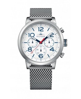 Tommy Hilfiger Jake 46mm multi. white dial st steel br