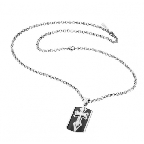 Police Spirit necklace ss+ip black 500+200mm