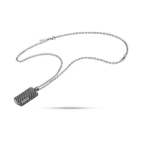 Police Lizard necklace ss+mesh charm 500+200mm