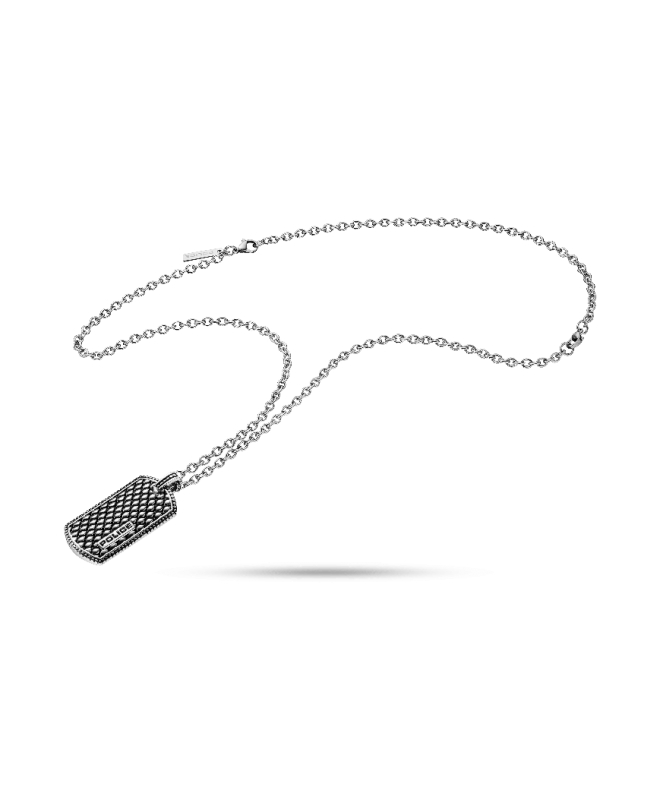 Police Lizard necklace ss+mesh charm 500+200mm - galleria 1