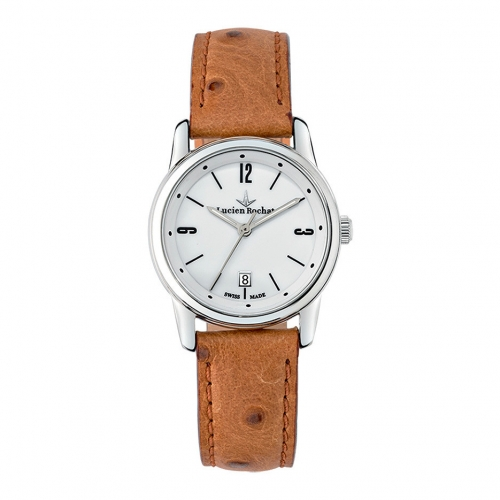 Lucien Rochat Geste' lady 30mm 3h white dial red strap