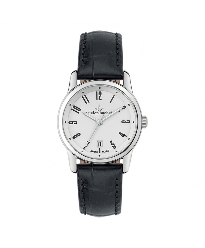 Lucien Rochat Geste' lady 30mm 3h white dial black st - galleria 1