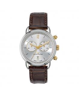 Lucien Rochat Geste' gent 40mm chr silver dial brown s