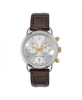 Lucien Rochat Geste' gent 40mm chr silver dial brown s