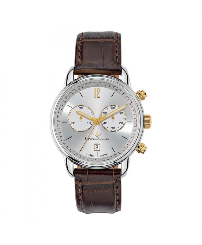Lucien Rochat Geste' gent 40mm chr silver dial brown s - galleria 1
