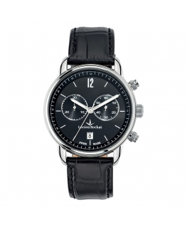 Lucien Rochat Geste' gent 40mm chr black dial black st