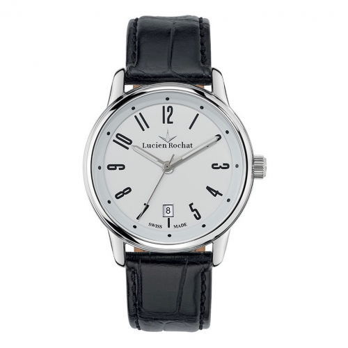 Lucien Rochat Geste' gent 40mm 6h white dial black st