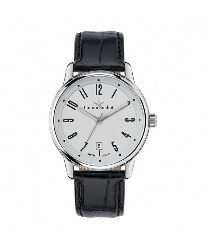 Lucien Rochat Geste' gent 40mm 6h white dial black st - galleria 1