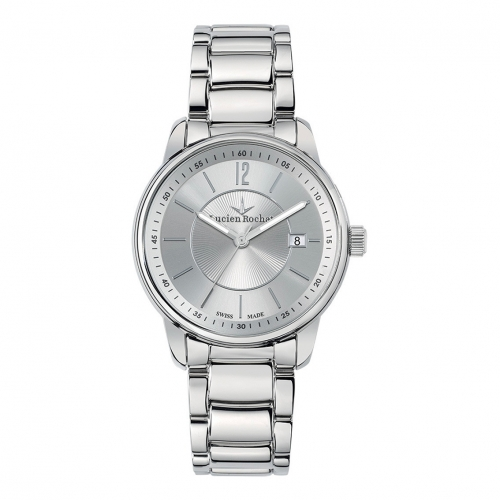 Lucien Rochat Geste' gent 40mm 3h silver dial ss br