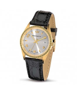 Philip Watch  c caribe 3h silver dial/black strap