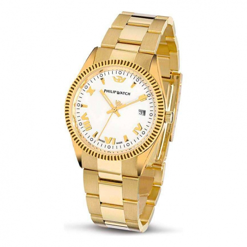 Philip Watch Caribe 3h gold white dial/bracc uomo R8053121045