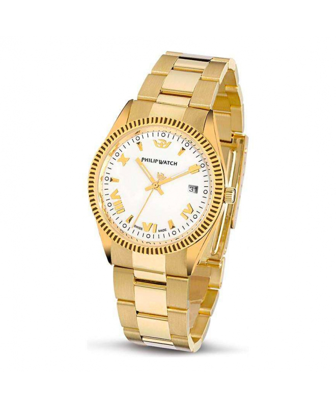 Philip Watch Caribe 3h gold white dial/bracc uomo R8053121045 - galleria 1