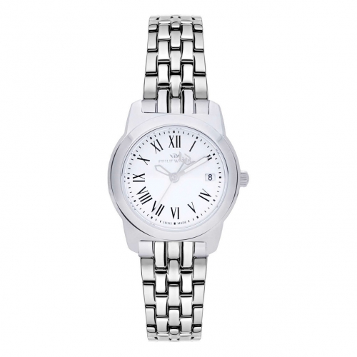 Philip Watch Timeless lady 28mm 3h white dial ss br donna