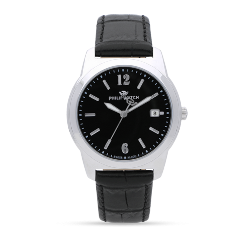 Philip Watch Timeless gent 38mm 3h black dial blk st uomo
