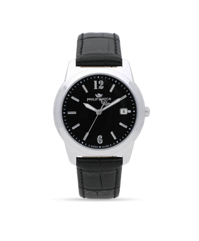 Philip Watch Timeless gent 38mm 3h black dial blk st uomo - galleria 1