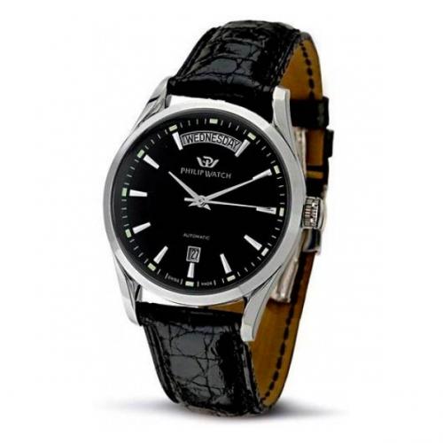 Philip Watch Sunray 3h auto black dial/black st uomo R8221680002