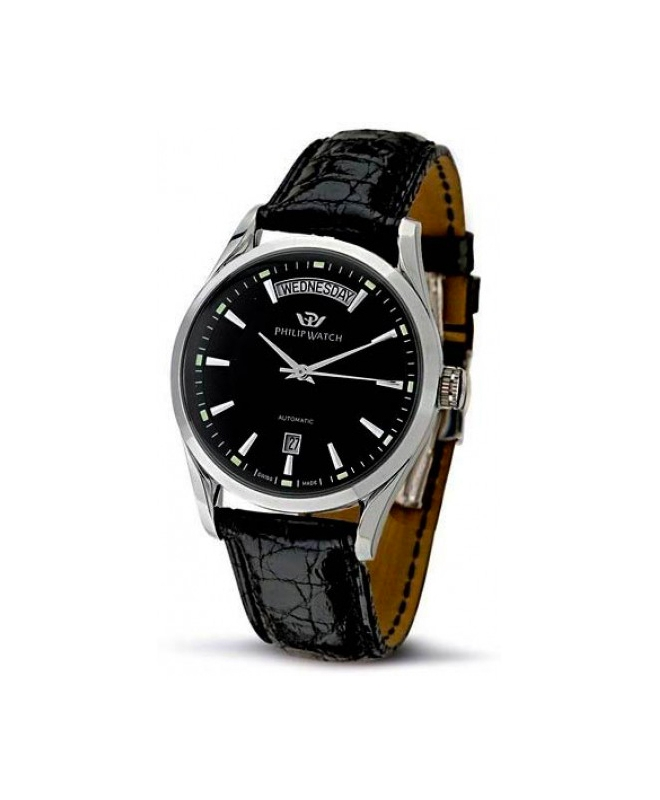 Philip Watch Sunray 3h auto black dial/black st uomo R8221680002 - galleria 1