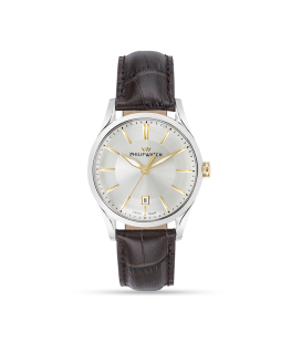 Philip Watch Sunray 39mm 3h white/s dial brown strap