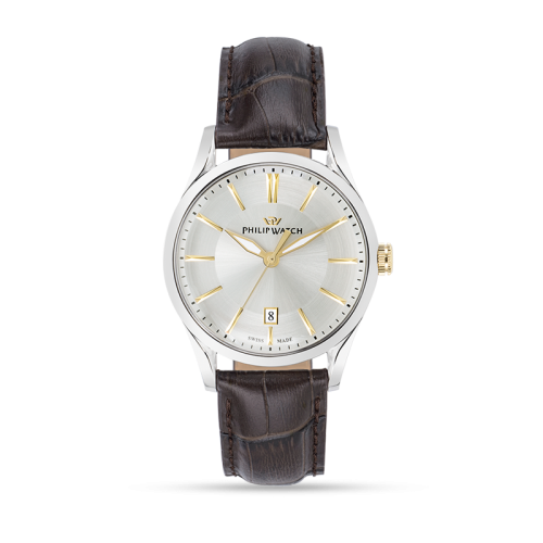 Philip Watch Sunray 39mm 3h white/s dial brown strap uomo